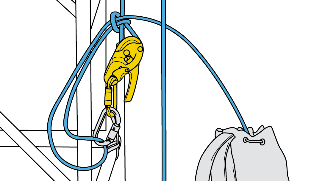Lösbare Verankerung mit dem RIG, vorinstalliertes System und Ablassen vom Boden aus.