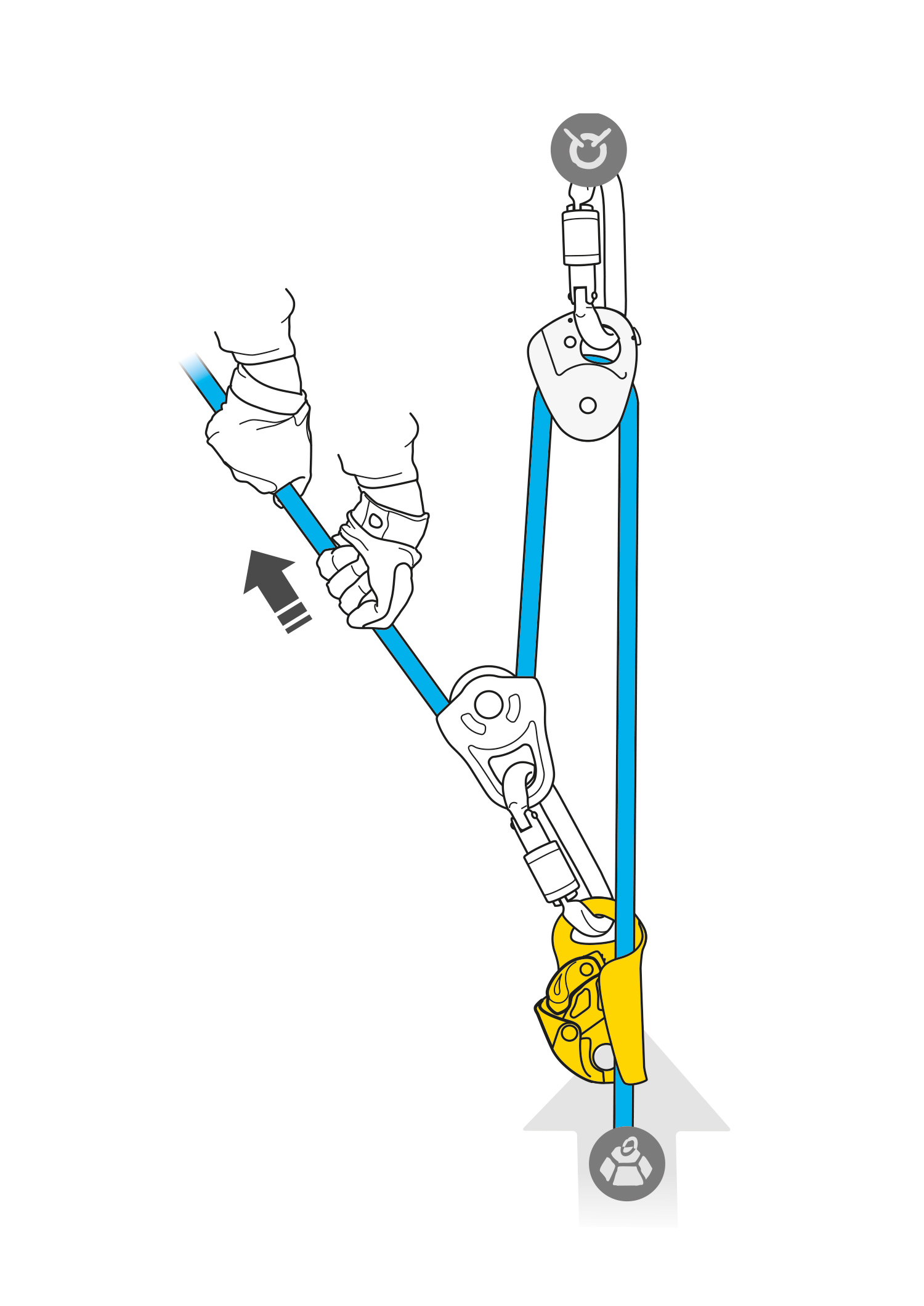 Pulley system with a BASIC ascender