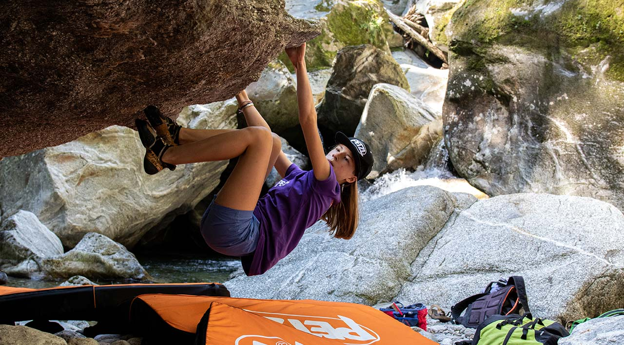 Video screenshot:Petzl Junior Rock Camp, a 100% outdoor climbing experience