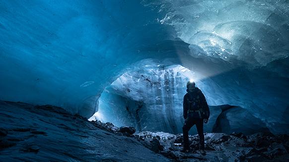 Exploring a glacier cave in Iceland