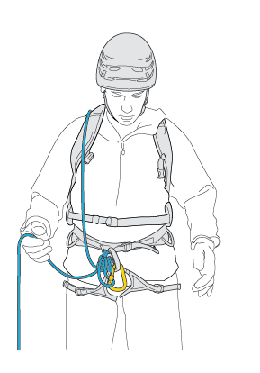 Tie-in with reserve rope in bag, no chest coils