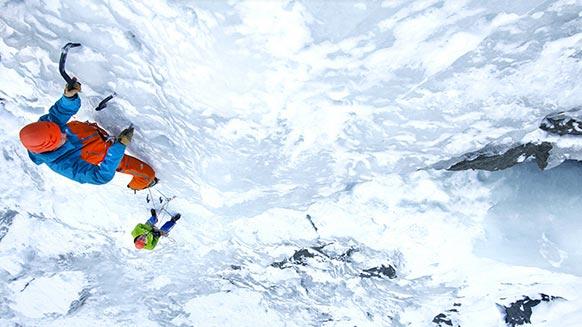 Capture d'écran de la vidéo :Les basiques de la cascade de glace : brochage, relais, abalakov