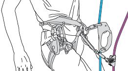 Annexe 2 : Détail de l'installation sur deux cordes avec deux bloqueurs