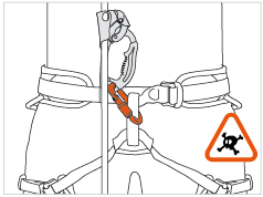 Attaching the ASCENSION and BASIC for self-belaying danger