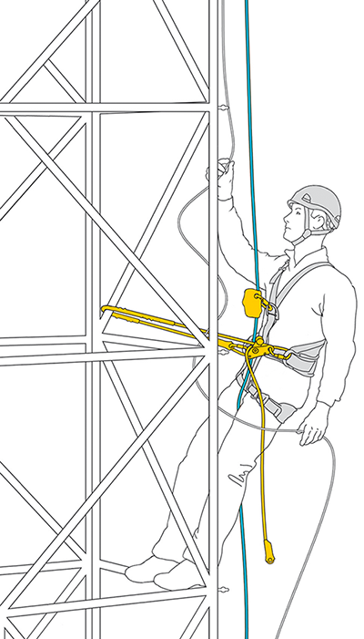 Work positioning using an adjustable lanyard.