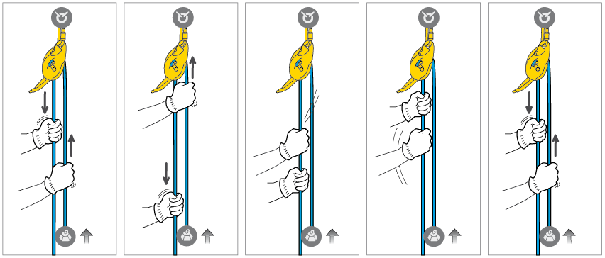 Belay technique with I'D S while raising.