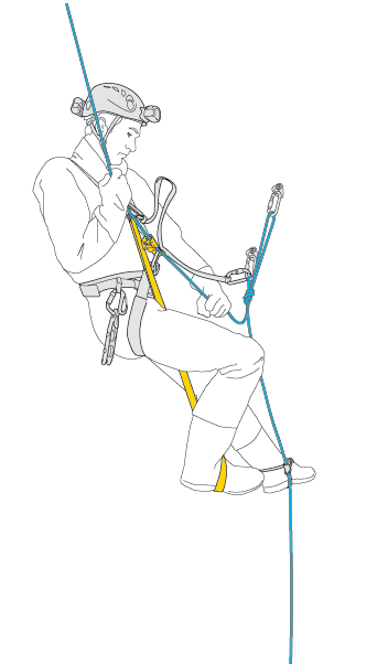 Remove the lanyard and continue your rope ascent.