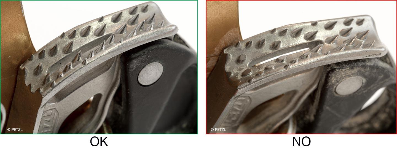 Information spéciale : bien détecter la fin de vie d'un bloqueur CROLL en spéléologie © PETZL