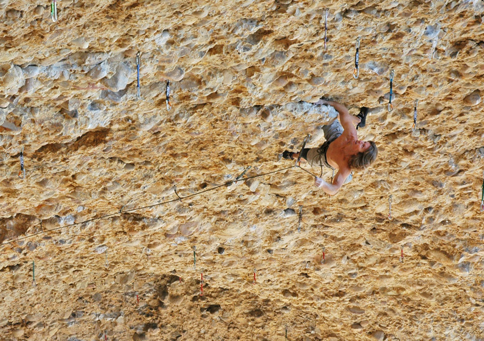 Chuck Odette climbing in Maple Canyon, UT. Photo: John Evans.