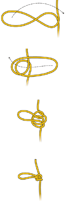 Special case: isolate a section of damaged rope with a butterfly knot.