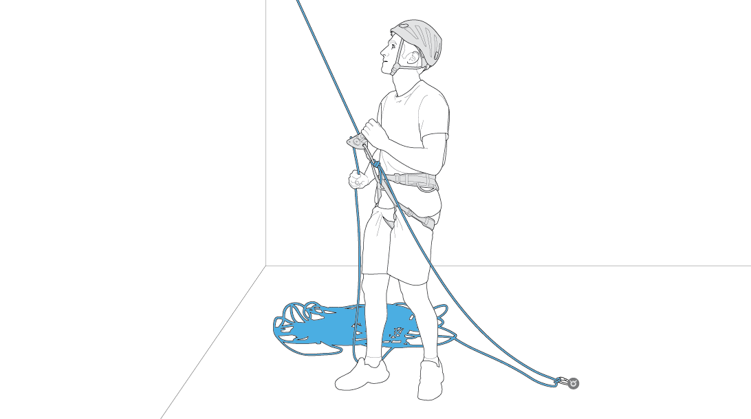 Top-rope belaying with the GRIGRI anchored to the ground.