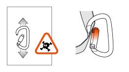Beispiele für gefährliche Belastungen der Karabiner.