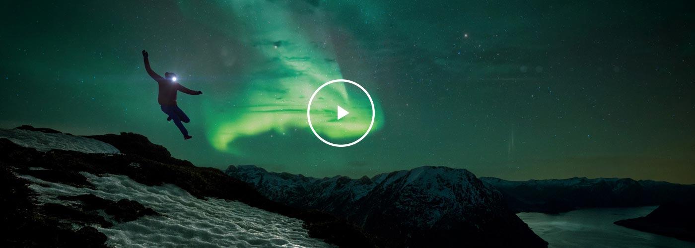 Kilian Jornet in the Northern Lights